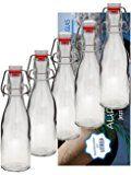10er Set Bügelflaschen Bügelflasche Glasflaschen 200ml mit Bügelverschluss zum Selbstbefüllen inklusive einem Einfülltrichter Durchmesser 5 cm Vitrea