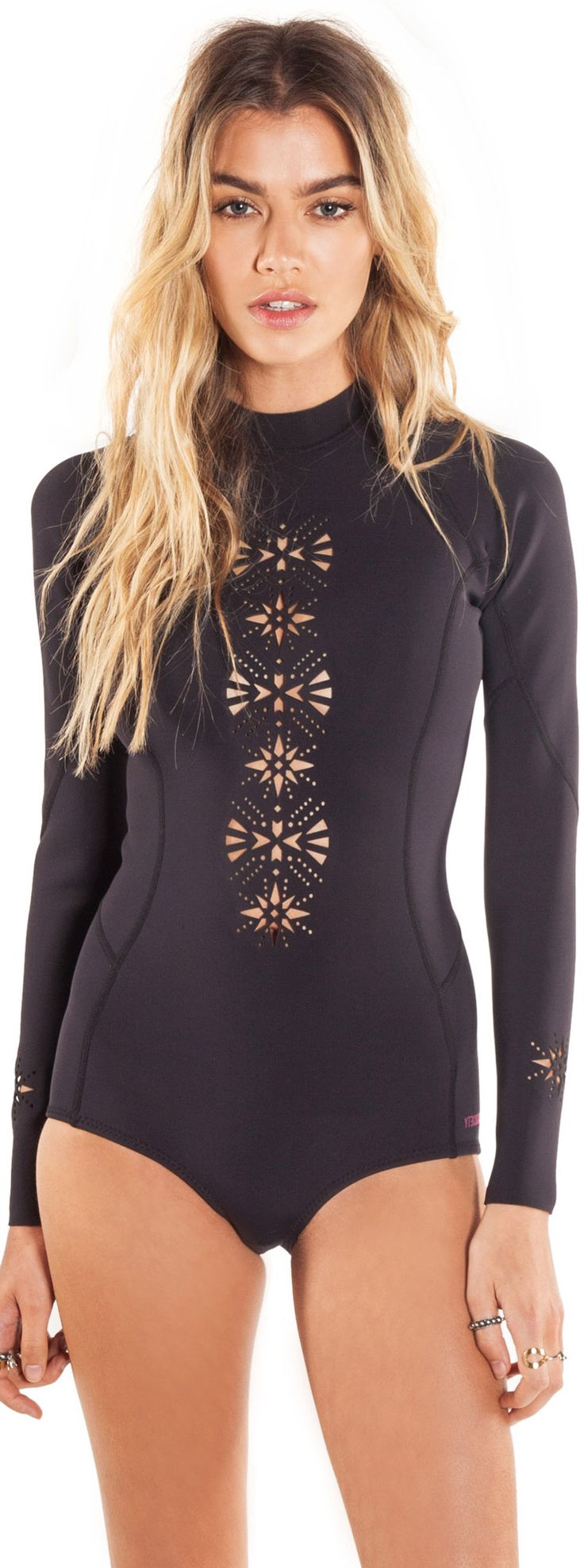 Lazers and surfsuits! - Amuse Society Lasercut Long Sleeve Cheeky One Piece Swimsuit
