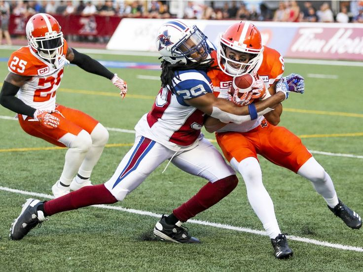 Week 3 - July 6 2017 - BC.23 - MTL.16 - Montreal Alouettes Donald Unamba Jr. tackles British Columbia Lions punt returner Marco Iannuzzi during first half of Canadian Football League game in Montreal Thursday July 6, 2017. Lions Ronnie Yell watches at left.  JOHN MAHONEY/MONTREAL GAZETTE