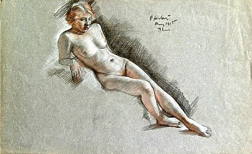 #Percy #Horton: #Nude, #study, #1915  #Unframed  #Signed and dated, inscribed 3 hours  #Coloured #chalk and #pastel on #grey #paper #portrait #Britishart #art #llfa #modernart
