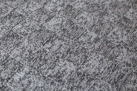 Hand Knitted Baby BlanketUnisex Grey Kids BlanketShower by namabi