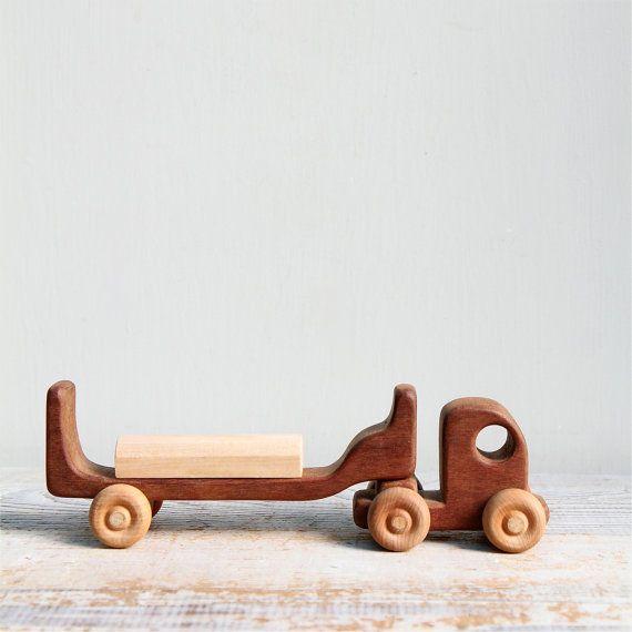 Vintage Handmade Wooden Toy Truck with Block / German Toy, Waldorf, Montessori, Natural Wood