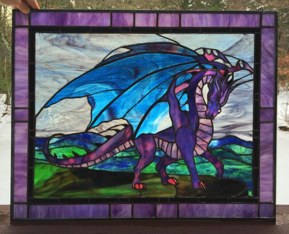 Panel Framed Stained Glass Flying Dragon Home Decor