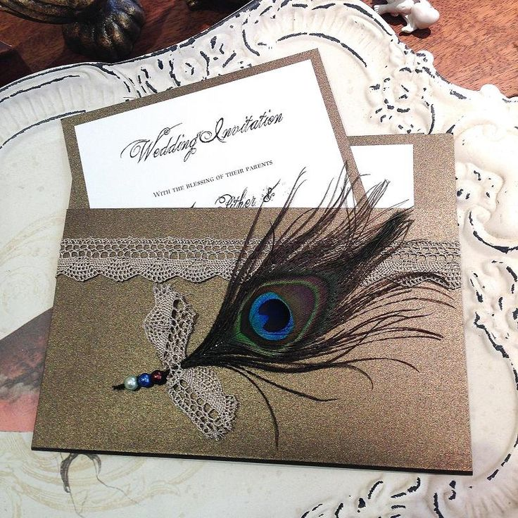 Peacock chic wedding invitation  www.bohemiandreams.co.uk