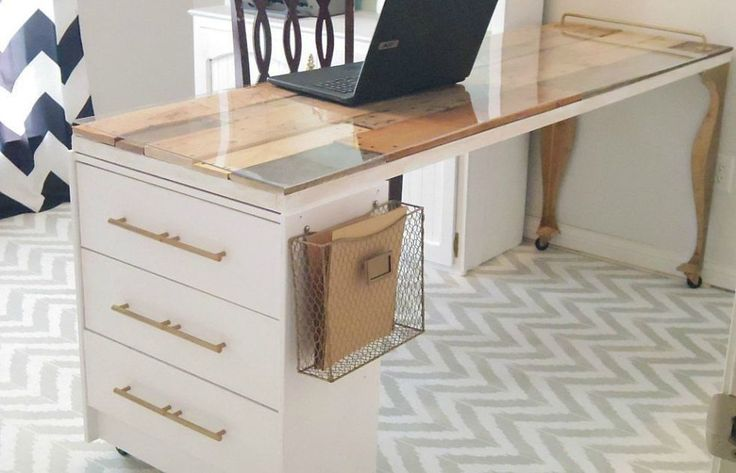 A plexiglass-covered core door now sits atop the dresser and a pair of table legs, creating the perfect stylish workspace. The bare dresser got a coordinating upgrade with a fresh coat of paint and new pulls. See more at Addison Meadows Lane »