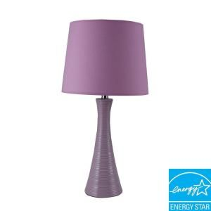 ORE International 30 in. Ceramic Ribbed Purple Table Lamp 31179PU at The Home Depot - Mobile
