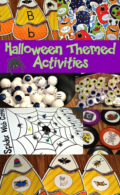 Halloween themed activities.  Fun center activities for learning letters/sounds, rhyme, CVC words and addition facts.