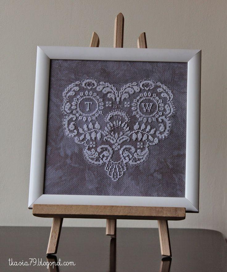 Sampler Heart, Wedding Anniversary, cross stitch