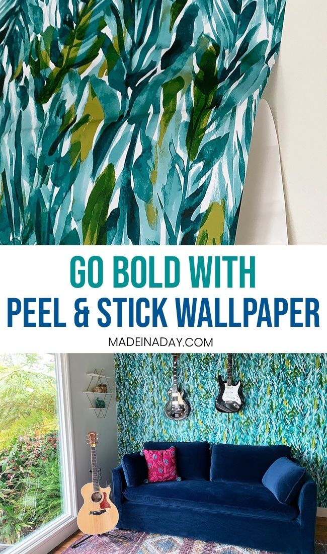 Go Bold With Peel And Stick Wallpaper Green Leaf Wallpaper Peel And Stick Wallpaper Teal Wallpaper