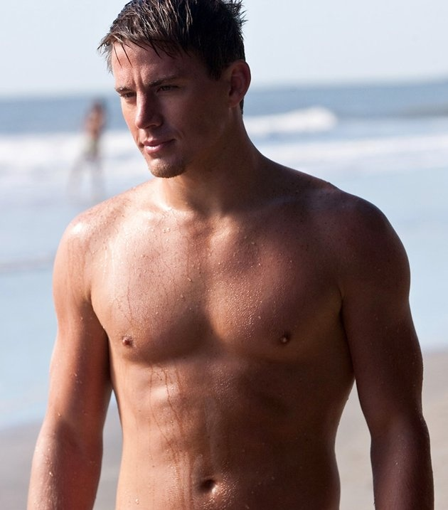 Sexiest Man Alive Channing Tatum. Shirtless. On a beach.