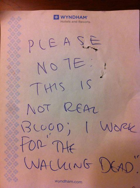 The Walking Dead producer Scott Gimple left a note for the hotel laundry after shooting a particular gory scene.