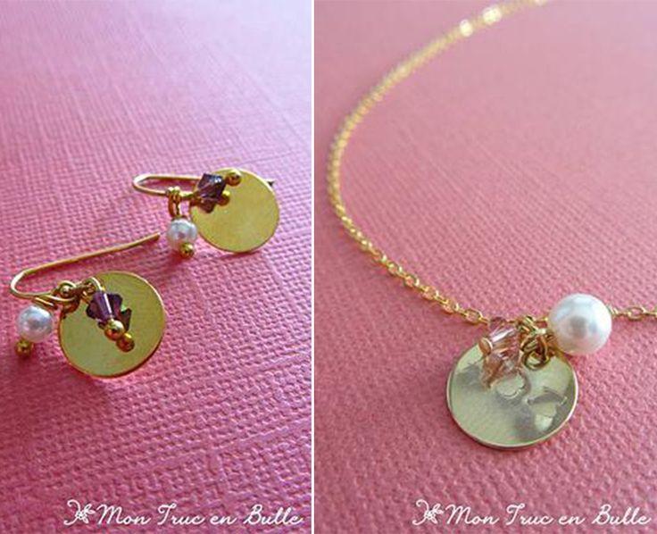 Collier et boucle d'oreilles assorties, or et perle on adore!