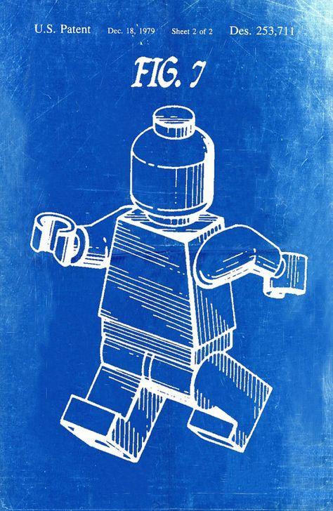 250 best blue print images on pinterest art impressions art lego patent blueprint art of a lego figurine man by bigbluecanoe malvernweather Image collections