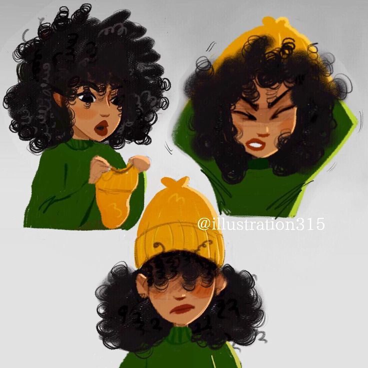 how to draw curly african american hair