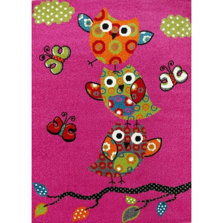 KC Cubs Owl and Butterfly Boy and Girl Bedroom Modern Decor Area Rug For Kids and Children