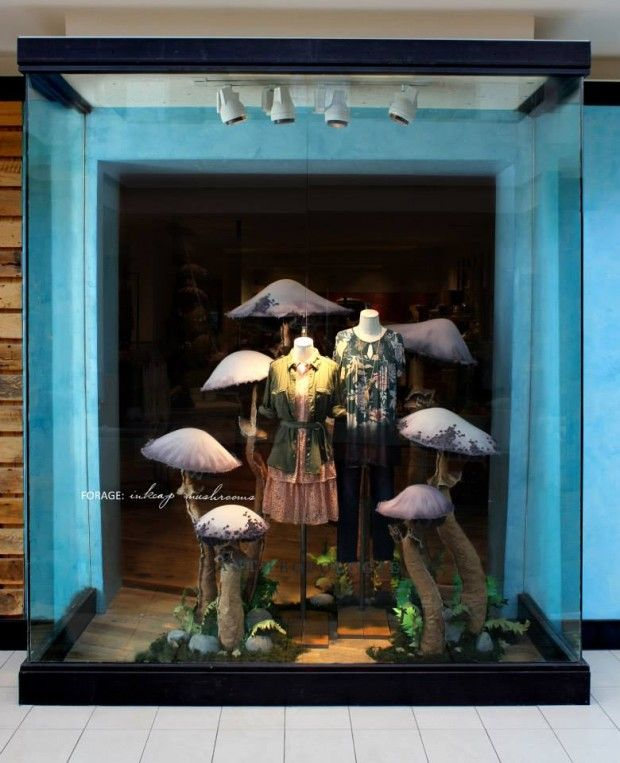 Mushrooms at Anthropologie Autumn Window Display 2013 could be a feature display in store as well