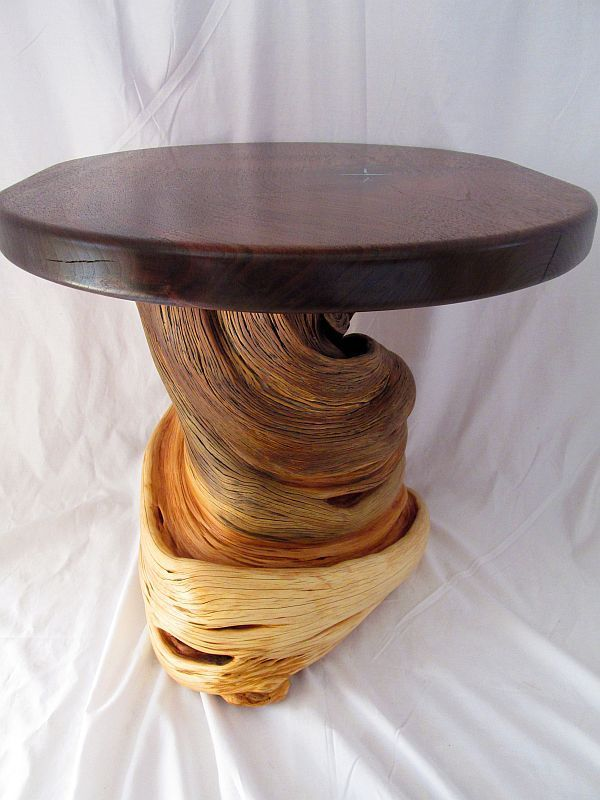 Custom Made Rustic Log Furniture End Accent Coffee Table Natural Juniper & Walnut Slab Turquoise Inlay