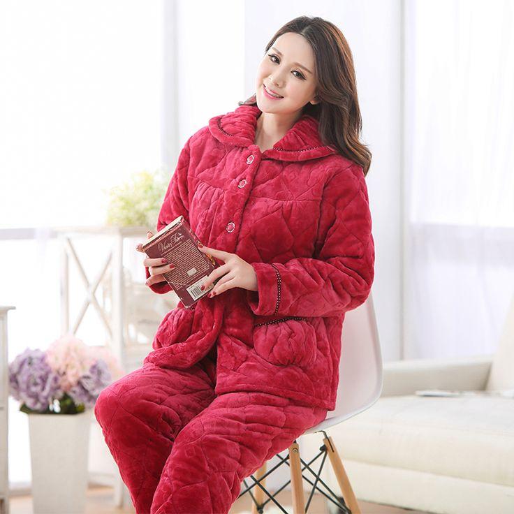 10Pcs/lot winter pajamas women sleepwear pajamas ladies pajamas set fleece pyjamas Women Pajama Set Plus Size Free Shipping