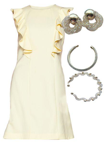 Мини образ с желтым платьем  купить за 759 грн. в интернет-магазин Stilecity  ✔ Лучшие цены ☆ Создайте свой собственный образ ♡ #Stilecity, новый капсульный гардероб на каждый день. Образ содержит: платье браслет серьги