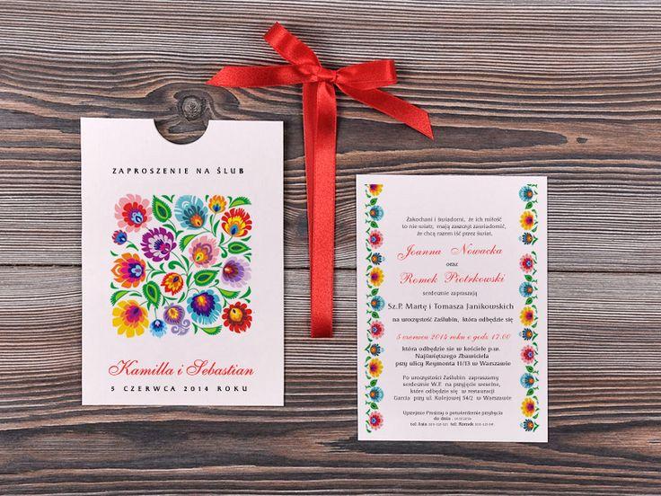 Zaproszenie Ślubne wyciągne z koperty Kolekcja Ludowe Model 12/lue/z  #decorisus #zaproszeniaslubne #zaproszenianaslub #zaproszenia #slub #wesele #folk #polishfolk #wedding #polishwedding #weddings #weddingideas #weddingstyle #party #ludowe #polska #koguty