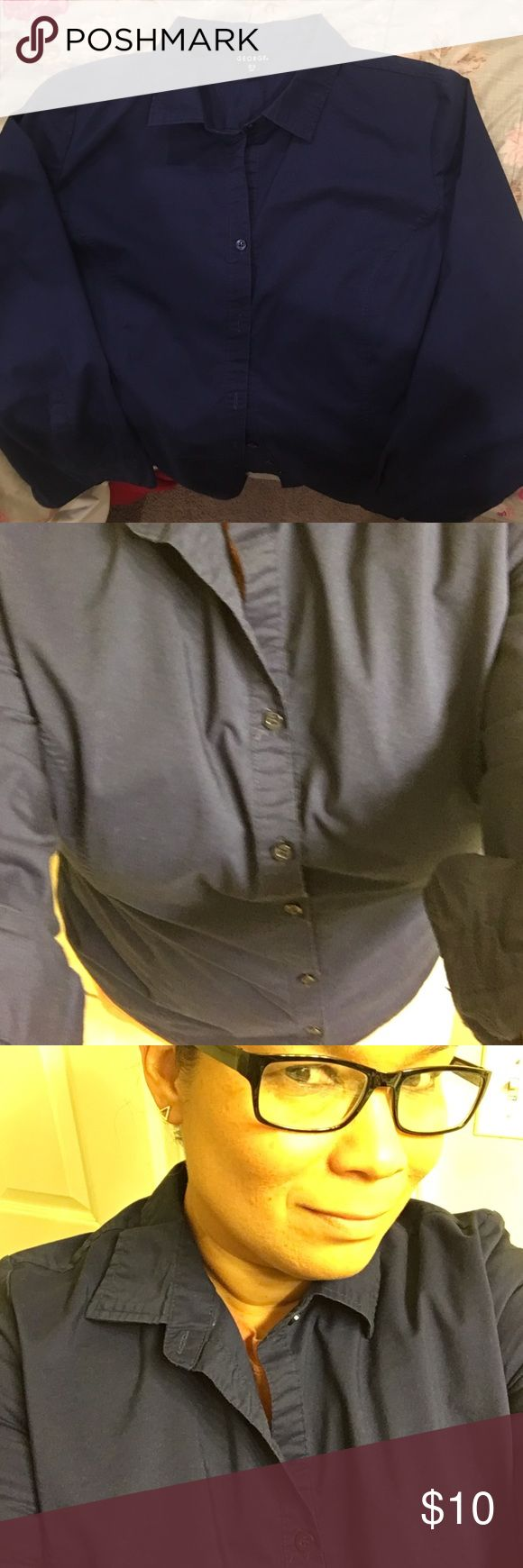 Navy Blue Shirt Navy Blue Long Sleeve Button Down Slimming Fitted Shirt. Sleeves can also be folded up. George Tops Button Down Shirts