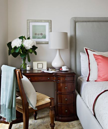 This is a good idea - if you have a lovely antique desk and no other place for it, it can do double duty as a nightstand!  Its not a new idea, my mom uses hers this way...just a good one.  RealSimple.com