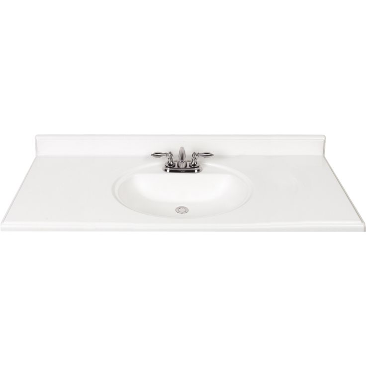 Website Picture Gallery Shop White White Cultured Marble Integral Single Sink Bathroom Vanity Top Common