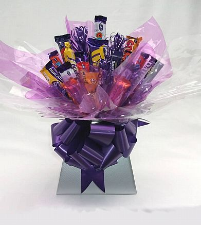 Homemade Gifts | Silver & Purple Cadbury Chocolate Bouquet
