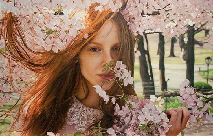 Pintura Hiperrealista Femenina. Pintura Femenina Pintada al Óleo sobre Lienzo Pintor: Yigal Ozeri