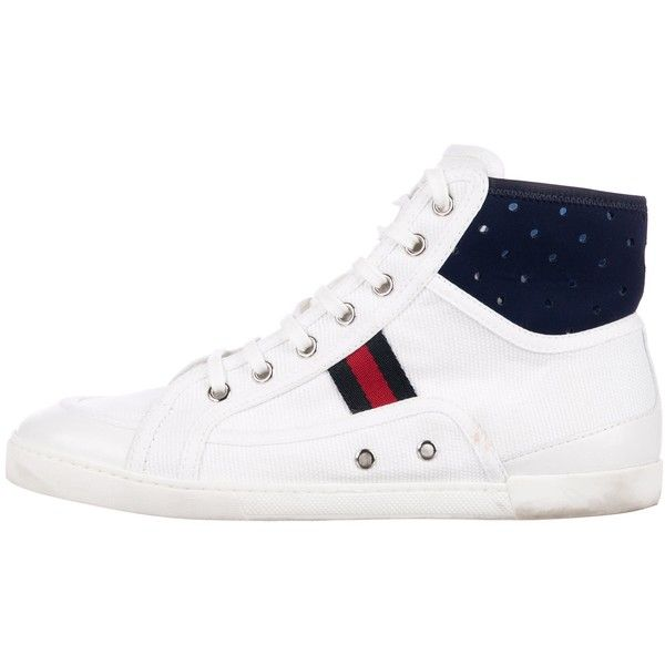 Pre-owned Gucci Canvas High-Top Sneakers ($345) ❤ liked on Polyvore featuring shoes, sneakers, white, white canvas sneakers, gucci high tops, canvas high top sneakers, canvas high tops and white canvas shoes