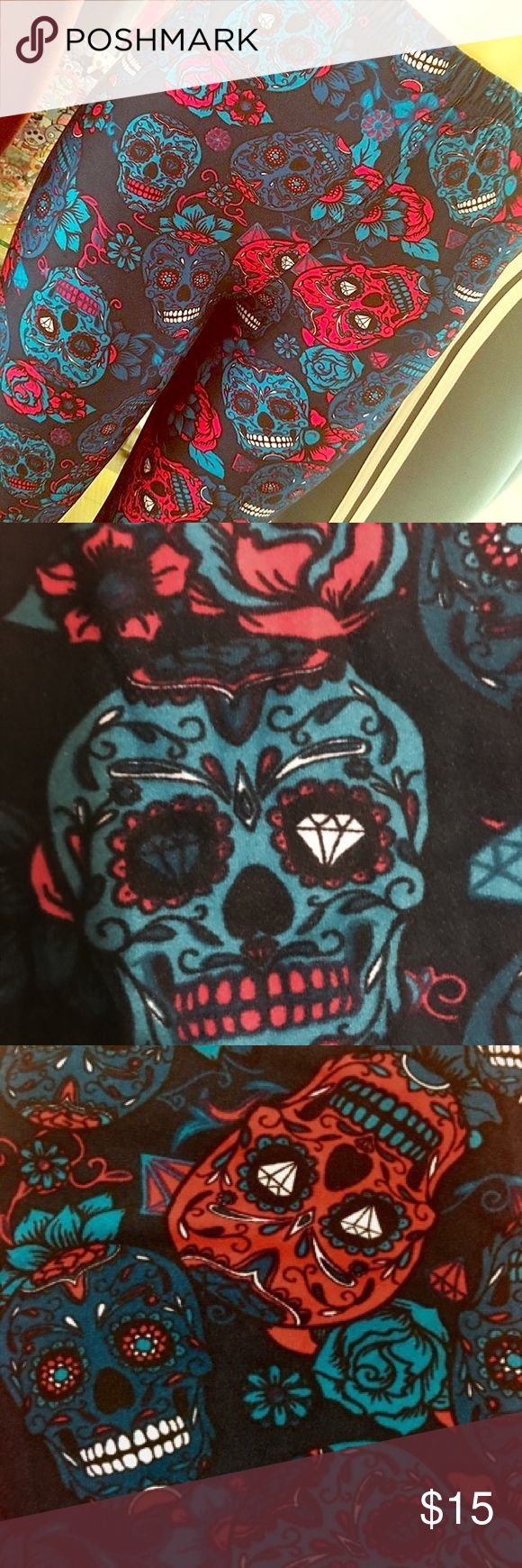 Halloween Soft Leggings Sugar Skull Plus Size NWT Leggings Plus Size    Specifications   92% Polyester 8% Spandex (similar to LuLaRoe and Agnes and Dora)   Plus Size ( Size 12-20 )   Buttery soft stretchy silky fabric   Breathable fabric to provide an effortlessly comfy and flawless fit   Seamless comfort Elastic Waistband    Note:  Color may be lighter or darker due to the different PC display  One size generally fits sizes 2-12  Plus one size generally fits sizes 12-20  Fit can vary with…