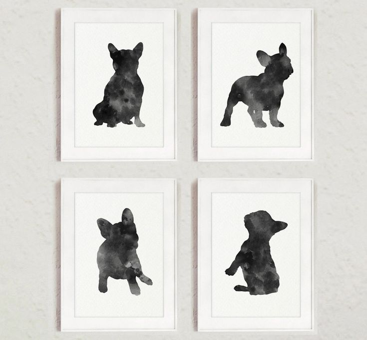 French Bulldog Silhouette Set of 4 Art Print, Black and White Dogs Illustration, Gray Dog Drawing, Charcoal Frenchie Baby Room Decor by Silhouetown on Etsy