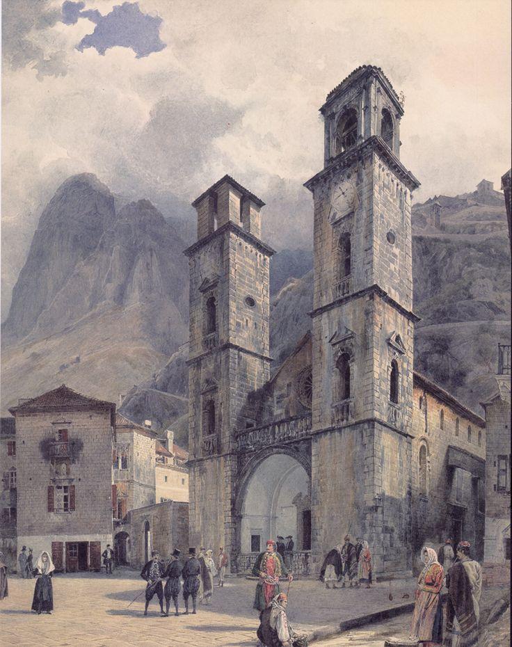 The Cathedral Square in Cattaro by Rudolf von Alt, 1841