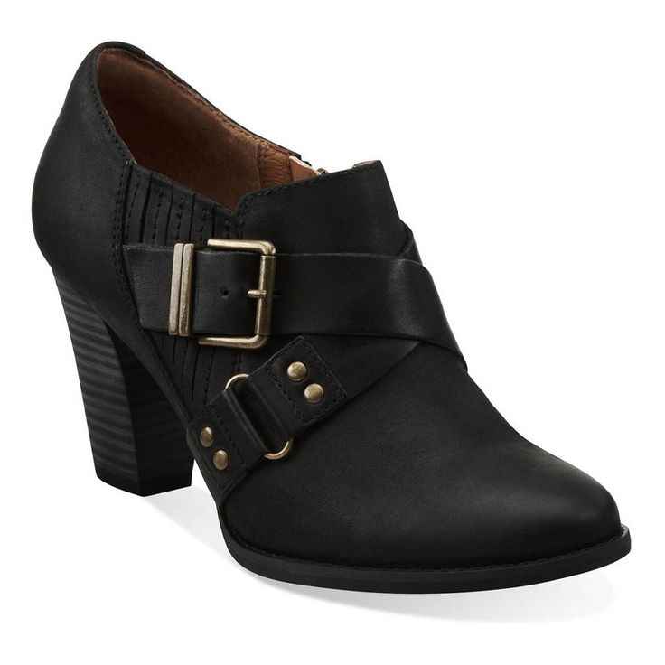 Heath Woodlark in Black Oily Leather - Womens Shoes from Clarks