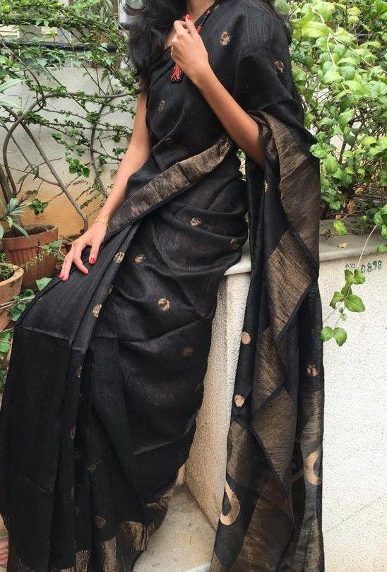 Black motka tussar silk saree