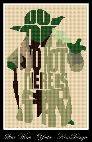 Cross stitch pattern custom made for you Star Wars - Yoda.  PLEASE READ CAREFULLY BEFORE YOU BUY! VERY LARGE MODEL !!!  Computer Generated Pattern!