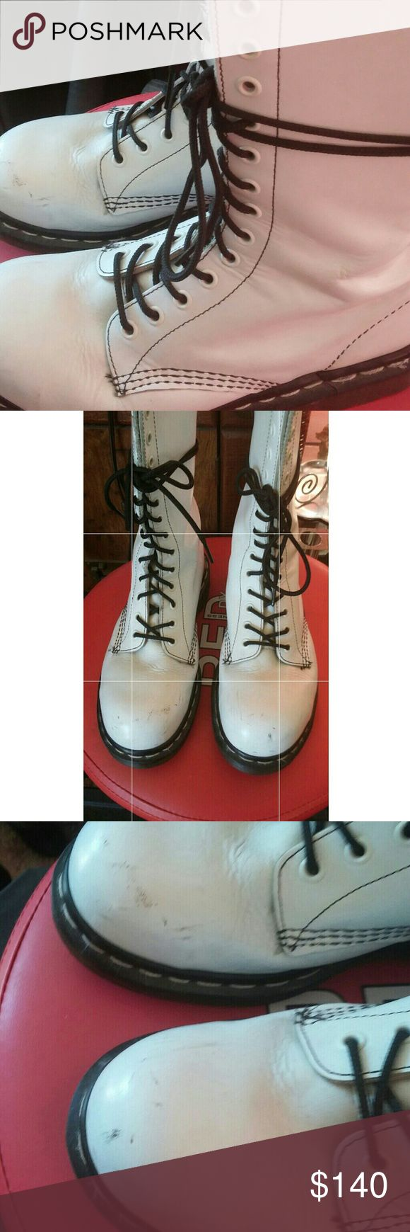 Doc Maertens Steel Toe White Doc Martens Steel Toe UK 7 US9  minor scuffs As Is Really Cool and rare Dr. Martens Shoes Combat & Moto Boots