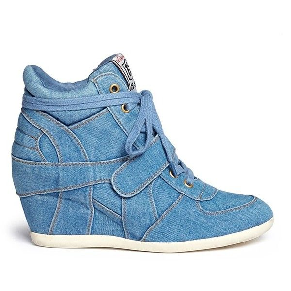Ash 'Bowie' denim concealed wedge sneakers ($205) ❤ liked on Polyvore featuring shoes, sneakers, blue, hidden wedge shoes, denim sneakers, ash footwear, ash trainers and denim shoes
