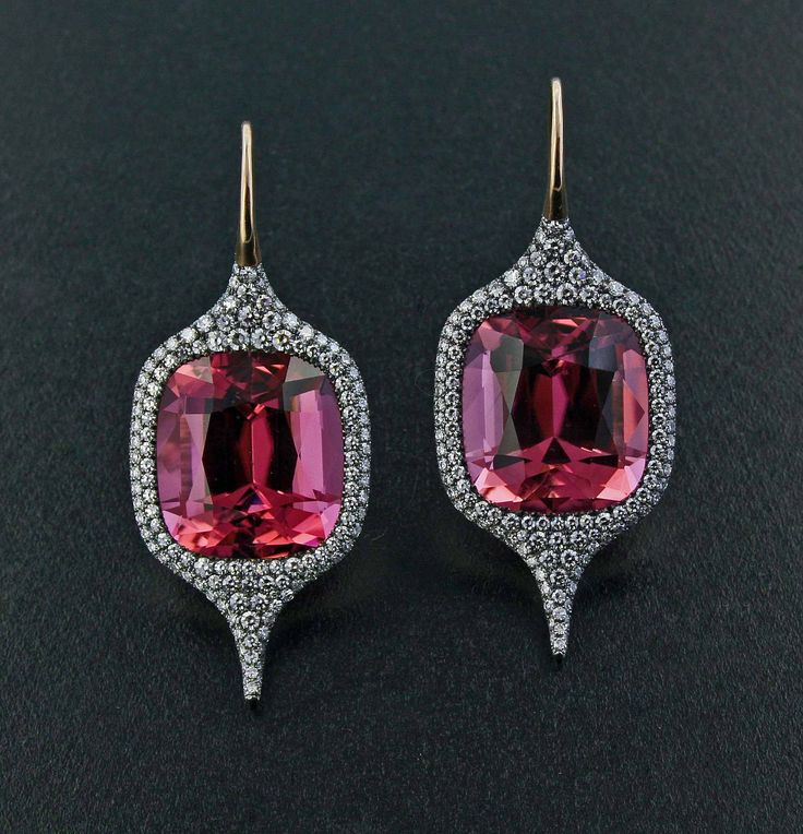 Pink Tourmaline, Diamond, Silver and 18K Rose Gold Ear Pendants by James de Givenchy #Taffin #JamesdeGivenchy #Earring