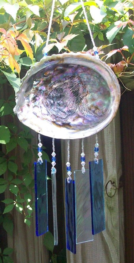 Abalone Shell Upcycled into a Windchime with Light by hunter5220