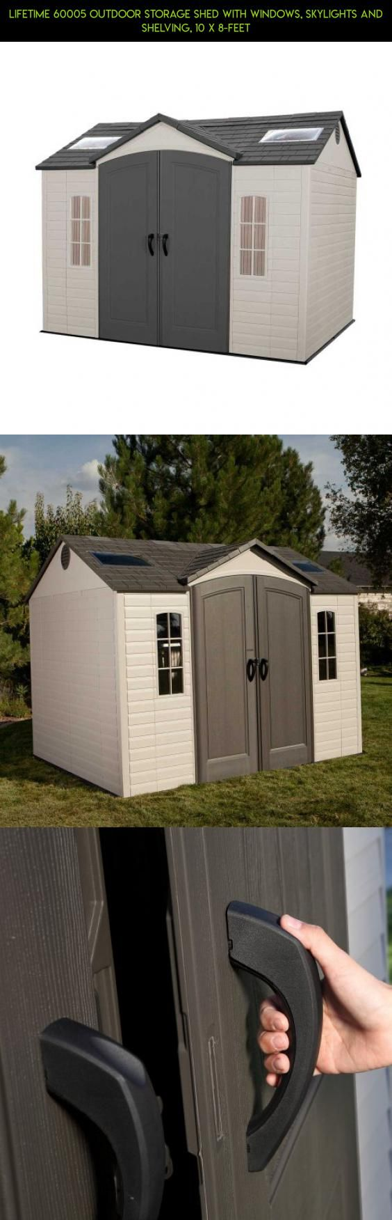 Lifetime 60005 outdoor storage shed with windows skylights and shelving 10 x 8