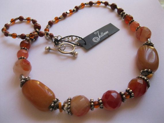 Chunky Orange Red, Facetted Agate, Jasper, Jade, Carnelian, Amber and Coral, Sterling Silver Necklace by Julleen Jewels