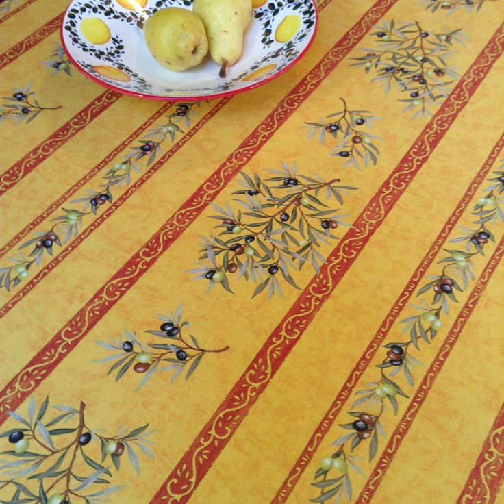 Our New Fabric Claudine Yellow Stripes With Acrylic Coating. Great If You  Love Olives. Yellow StripesTableclothsProvenceOlivesTable ...