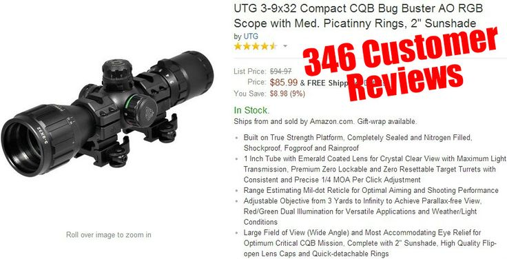 AR 15 Scopes - UTG 3-9x32 Compact CQB Bug Buster AO RGB Scope with Med. Picatinny Rings, 2 Sunshade