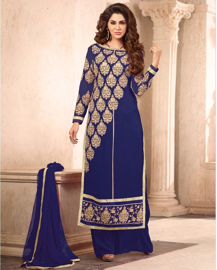 Blue palazzo suit with golden thread embroidery   1. Blue poly georgette palazzo suit2.  Golden embroidered motif border3. Comes with matching bottom and dupatta4. Can be stitched upto size 44 inches