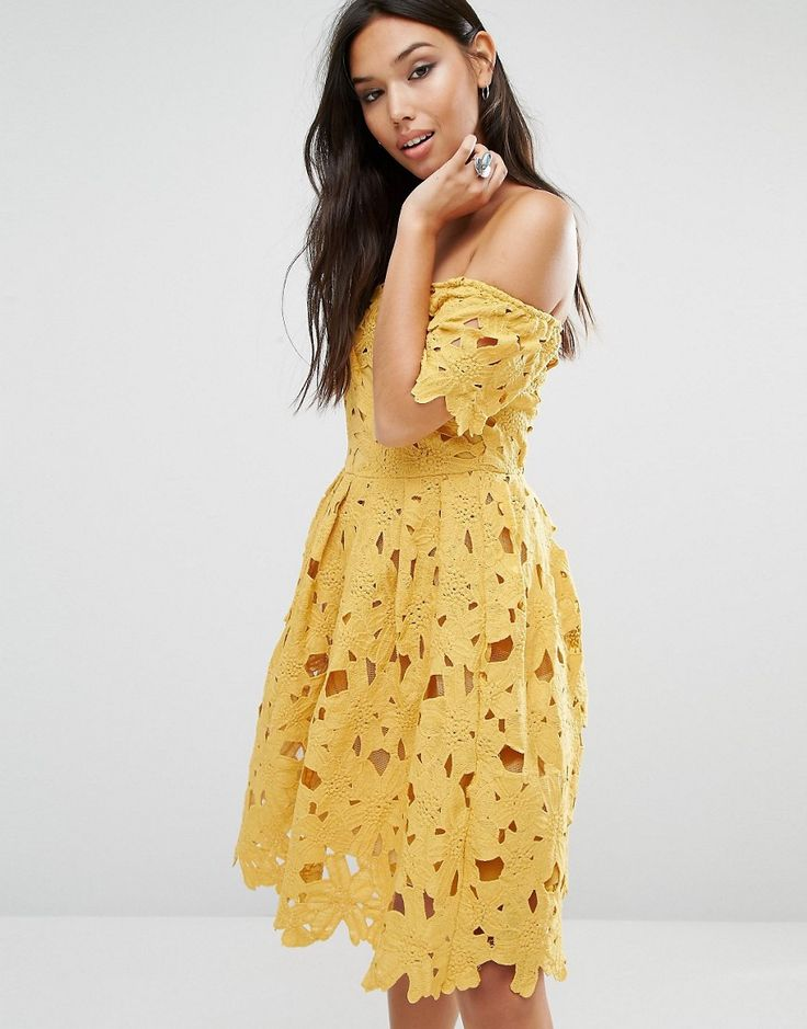 Boohoo Lace Bardot Skater Dress at asos.com