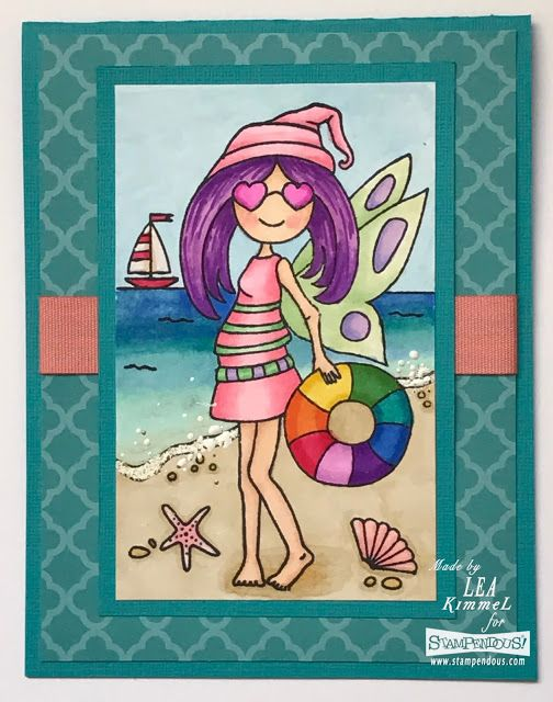 (th)INK Positive: Beach Baby...   #Stampendous #PinkYourLife #PYL  So loving this Stampendous Pink Your Life Beach Girl!  She's just too cute!