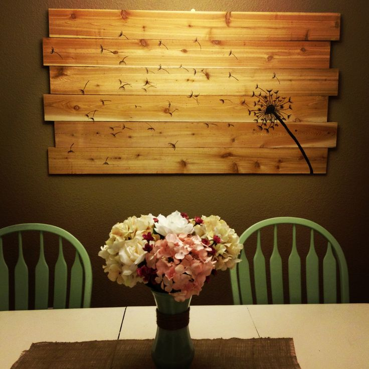 DIY Rustic Dandelion wall art... Some see a weed.. Some see a wish lettered on
