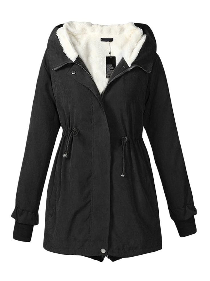 Kupuj tanio Women's Coat Warm Hooded Solid Long Coat w Jollychic, Darmowa dostawa!