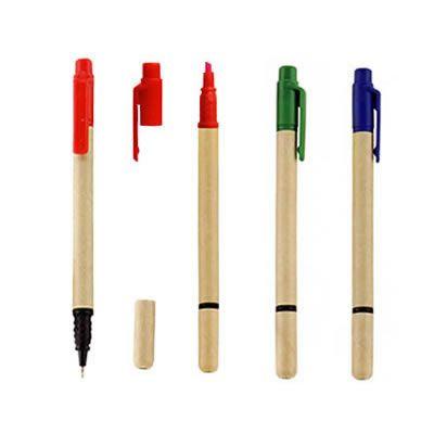 REF:ECO PAINT 2 EN 1   Bolígrafo Elaborado con Cartón. Con Tapa Plástica Con Resaltador de Tinta.  Producto Ecológico.  Tipo de Producto: IMPORTADO.  Medida de Bolígrafo: 14 cm.  Área de Marca en Barril: 5 cm ancho x 0.6 cm alto.  Técnica de Marca: Tampografía.  Colores Disponibles: Rojo, Verde y Azul.